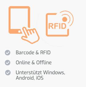 Vielfältige Datenerfassung mit Barcode & RFID, Online wie Offline unabhängig vom Endgerät
